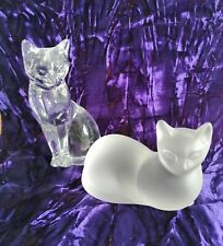 USA 1993 PAIR OF LENOX CRYSTAL GLASS SITTING CATS CLEAR & SATIN FINISH ORNAMENTS