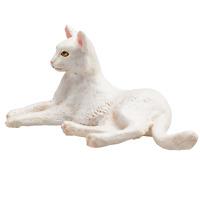 .Mojo CAT LYING WHITE cute pet farm model toys plastic figures animals