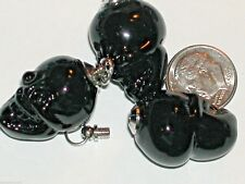 Glass Imp Skull BOTTLE Potion skeleton small Black pendant Halloween Screw top