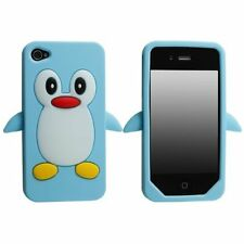 Light Baby Blue Penguin Silicone Case / Cover for Iphone 4 / 4S