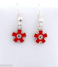 Small Red Flower Earrings