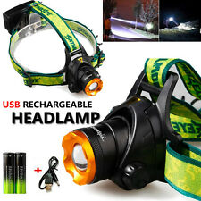 6000LM CREE XM-L T6 LED Headlamp 18650 USB Rechargeable Headlight Head Light UK