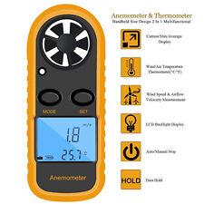 Handheld Digital Anemometer Wind Speed Gauge Meter Thermometer Sailing LCD Mini