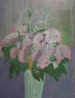 Vintage oil painting fauvist still life with flowers