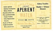 1900s Seattle WA Apilithia Aperient Medicinal Mineral Water Label Stephens Coll.