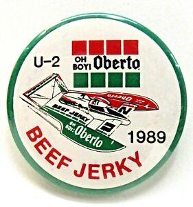 "1989 U-2 OBERTO 2.25"" pinback button hydroplane boat racing z"