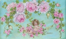 Shabby Chic Pink Roses Sweet Angel Giclee Canvas Print