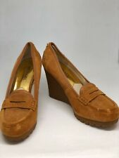 MICHAEL KORS SUEDE RORY Chestnut Wedge Loafer  Size 7.5M