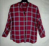 Johnston Murphy Women's Button Down Shirt Size L Burgundy Red Check Long Sleeve