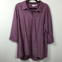 Joan Rivers XL Button Up Shirt Long Purple 3/4 Sleeve 100% Cotton Collared