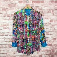 Robert Graham Limited Edition Shirt Butterfly Colorful Print Flip Cuff Sz M