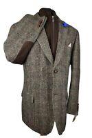 Harris Tweed BARUTTI Country Tailored Hacking Jacket 52L #724 RARE STORM COLLAR