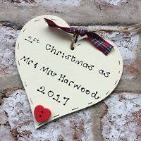1st first christmas as husband and wife personalised wooden heart gift Mr & Mrs