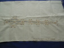 Embroidered Polyester & Pima Cotton Chiffonille Fabric Beige on Ivory