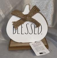 NEW Rae Dunn Magenta Metal Sign ~BLESSED~ White Pumpkin LL Fall 2020 wood base