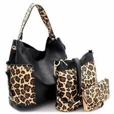 Whipstitched Leopard Animal Print 3 in 1 Hobo Wallet Set Handbag Bag Purse