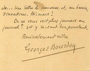 🌓 Georges BOURDON  Carte à Fasquelle   Les Théâtres anglais   Le Figaro   1902