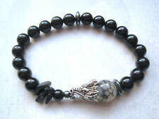 MENS DRAGONS Vein Agate & Black Onyx Gemstone Bead Stretch Bracelet Hematite