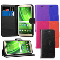 For Motorola Moto G6 Play Case - Premium Leather Wallet Flip Case Pouch + Screen