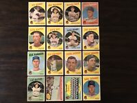 ⚾️1959 Topps Baseball Cards Cleveland Indians Lot Of 16 Billy Martin Colavito⚾️