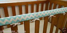 SET OF TWO Baby Cot Rail Cover Crib Teething Pad - Aqua Chevron 100% Cotton