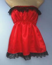 rojo vestido de satén adulto bebé disfraz sissy criada francesa cosplay para