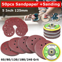 "50X 5"" Sander Sanding Discs Pads 60-240 Grit Sandpaper W/ Attached Air Mill Disc"
