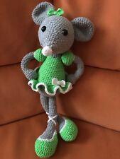 Jouet Doudou Souris Verte Fait Main Au Crochet