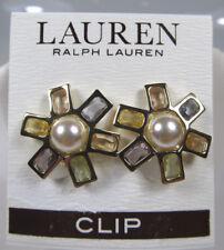 LAUREN by Ralph Lauren Pearls Rock Pearl Faceted Stone Flower Clip Earrings