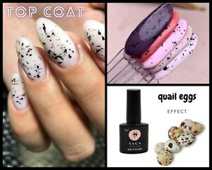Top Coat with Black Matte Flakes Quail eggs nails Top Cover Nail Art 8 ml