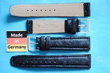 2° scelta Vero Struzzo Cinturino orologio 20MM NERO MADE IN GERMANY