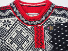 Auth. DALE of NORWAY Black White Red Men Wool Sweater Pullover Cardigan M L XL