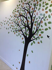 7FT BLOWING TREE WALL DECAL WHIT BIRDS Nursery Art Sticker Mural