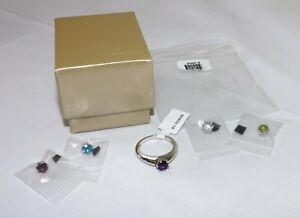 JTV Multi-Gemstone Sterling Silver Interchangeable Ring NEW Size 10 SKH032