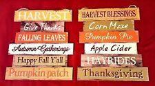 2 Wooden Harvest Fall Welcome Sign Pumpkin Apple Autumn Glitter Thanksgiving