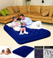 FLOCKED DOUBLE COMFORT QUEST AIR BED INFLATABLE AIRBED - BLUE 75 x 54 x 8.5 INCH