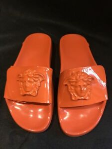 NEW VERSACE Orange Patent Leather MEDUSA PALAZZO Slide Sandals, Size 36, US 6