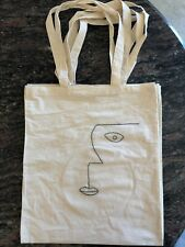Hand Embroidered Abstract Face Tote Bag