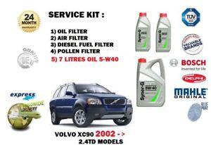 FOR VOLVO XC90 2.4TD D5 2002-> OIL AIR FUEL POLLEN FILTER SET + 7 LITRE OIL