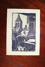 ✒ ca1930 Roger LESCARET Carte de voeux avec un joli bois gravé RESISTANCE