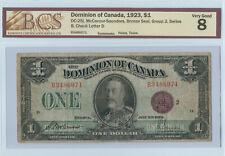 1923 BCS Graded VG 8 $1.00 McCavour-Saunders Note