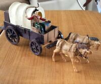 Ideal Covered Wagon Horses Driver Vintage Toy For Model Train Model Railroad +++
