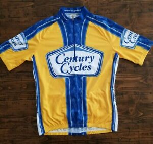 Sugoi Cycling Jersey Men's Large Yellow Blue White Century Cycles 1/4 Zip
