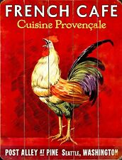 """TIN SIGN """"Rooster French Cafe"""" Establishments Decorative Wall Decor"""