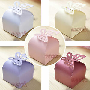 50 - 100pcs Butterfly Pattern Favor Gift Candy Boxes Wedding Party Baby Shower