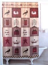 Famous Home HOMESTEAD Country Primitive Patchwork Folk Art Fabric Shower Curtain
