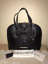 BRAHMIN CORA BLACK CROC LEATHER TOTE BUSINESS / TRAVEL / SHOPPER XLARGE BAG NEW