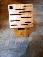 "New listing Shun 11 Hole Slot Knive Block Wood Kitchen Cooking 9.25"" tall 11.5"" long 5"" wid"