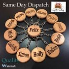 PERSONALISED NAME KEYRINGS & KEYCHAINS WOODEN GIFT ALEX