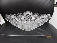 BEAUTIFUL LARGE HEAVY CUT GLASS CENTER PIECE OBLONG